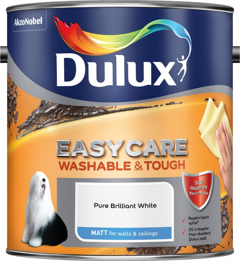 Dulux Easycare Washable and Tough Matt Pure Brilliant White 2.5L